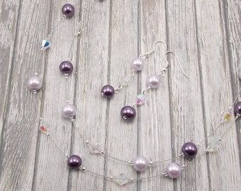 Purple Necklace and Earring Set - Double Strand Glass Pearl - Purple and Lilac - Lavender