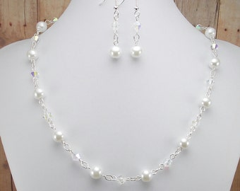 Necklace & Earring Set - White Glass Pearl and Clear Aurora Borealis with Bright Silver