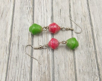 Paper Bead Earrings - Rwandan Paper Beads - Light Red and Apple Green