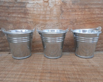 36 Mini Silver Tin Metal Pails, Favor Size, DIY Weddings, Rustic Buckets, Fun Containers For Your Treats, Succulents