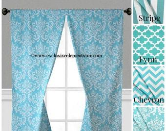 Aqua Blue Curtain Panels Modern Geometric Chevron Damask Stripe Drapery Window Treatments Set Pair