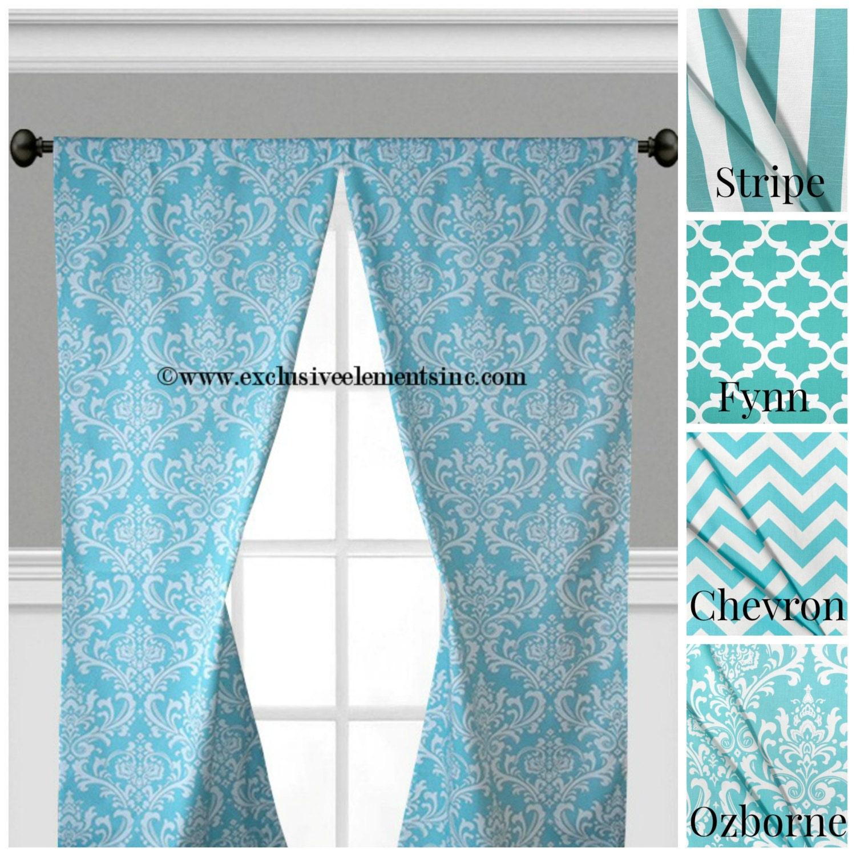 aqua blue curtain panels modern geometric chevron damask