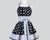 Flirty Chic Apron , Black and Grey Polka Dot Two Layer Skirt Cute Flirty Sexy Retro Womens Apron