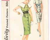 Vintage 1959 Simplicity 2912 Sewing Pattern Misses' Coat Dress and Belt with Detachable Collar Size 12 Bust 32