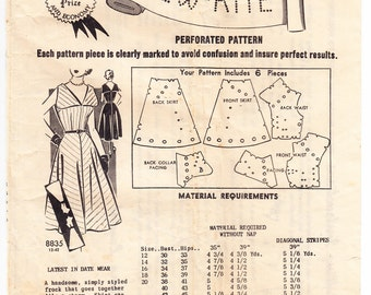 Vintage 1950s Mail Order Sew-Rite 8835 Sewing Pattern Misses' Dress Size 12 Bust 30