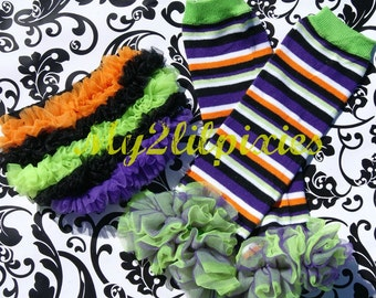 READY TO SHIP Baby Girl Halloween Stripe Ruffle Bum Baby Bloomer and Leg Warmers, Halloween Mini photo session, Baby girl diaper cover