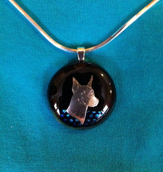 Doberman Pinscher Fused Glass Dichroic and Silver Pendant