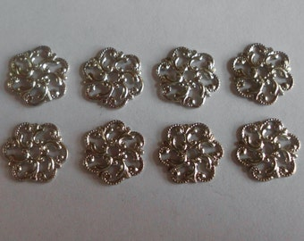 Vintage Component- Filigree- Silver Plated- Brass- Set of 8- Costume- Renaissance- Medieval