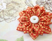 Fabric Flower Brooch Pin in Orange and Yellow Fabric with vintage button