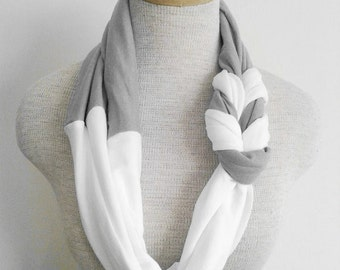 Grey and White Half Braided Knot Jersey Tee Scarf