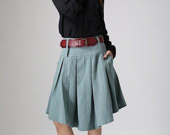 Green skirt, woman linen skirt, midi skirt, customer made skirt, pleated skirt, skirt with pocket, plus size skirt  (915)