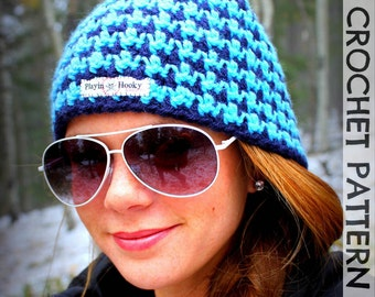 CROCHET HAT PATTERN - Reversible Houndstooth Beanie