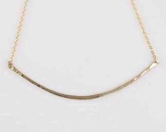 """Large Hammered Gold Bar Necklace- curved 14K gold bar, 16"""""""