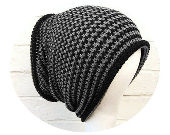 Dreadlocks tube hat, black grey headband, wide knitted dreads hair wrap.