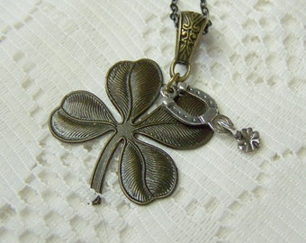 Lucky Charm Necklace - Large Antiqued Clover - 4 Leaf Clover - Lucky Shamrock - Horseshoe - Good Luck Piece - Irish Jewelry - Lucky Jewelry