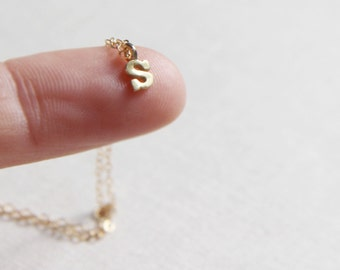 Mini Gold Initial Necklace | Tiny Initial Necklace Gold | Personalized Necklace