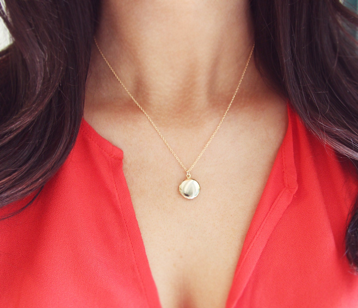 Tiny Gold Locket Necklace On Delicate 14kt Gold Filled Chain