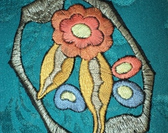 1920s Art Deco Applique Floral with silk threads and Metallic Border Old Store Stock never used