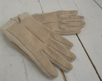 Vintage Ladies Beige Leather Gloves Crochet Size 6.5