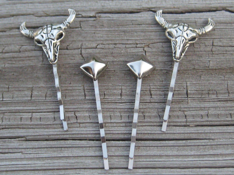cow skull hair pin slides decorative hair pins rivet hair. Black Bedroom Furniture Sets. Home Design Ideas