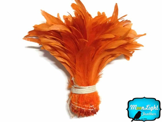 Rooster Tail Feathers, 1/2 Yard -  ORANGE Strung Natural Bleach Coque Tails Wholesale Feathers (bulk) : 3461