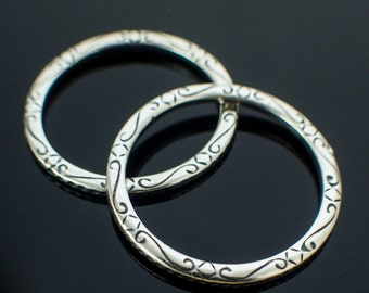 1 Antique Silver Plated Link, Focal, Soldered Closed Patterned Jump Ring 12 gauge 32mm OD - 100% Guarantee