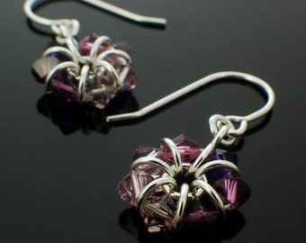 Amethyst Swarovski Crystal Eternity Earrings in Sterling Silver - February and June Birthstone - Kit or Ready Made