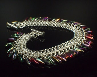 Sterling Silver Bracelet with Dagger Beads - European 4 in 1 Chainmaille Kit or Ready Made