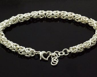 Sterling Silver Bracelet - Beyond Basic Byzantine Chainmaille in Non Tarnishing Argentium - Ready Made or Kit