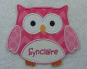 Personalized Owl with Name Fabric Embroidered Iron On Applique Patch MADE TO ORDER