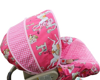 Infant Car Seat Cover Vintage Circus Carousel