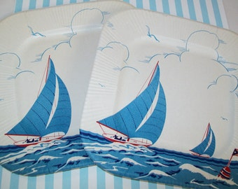 SALE - 2 Vintage paper plates,1950s, Unused, sailboats, sea