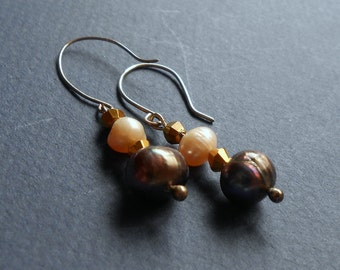 Pearls and silver earrings