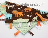 Safari Minky with Sage Green Minky Dot Tag Blanket  Ribbon Lovey - Personalized