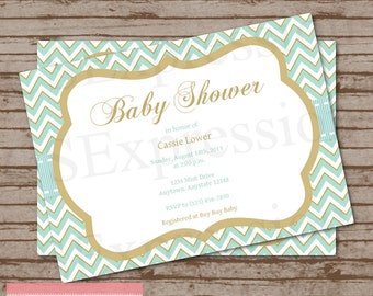 Menthe et Chevron or Baby Shower Invitation
