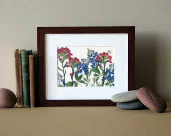 """Pressed flower print, 8"""" x 10"""" matted, Bluebonnets and Indian Paintbrush, Texas wildflowers, no. 051"""