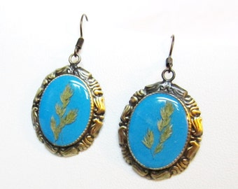 Green Grass  Earrings, Real Plants,  Pressed Flowers, Resin (1261)