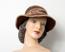 1970s hat  / 70s hat / brown wool hat / the Fall Forward hat