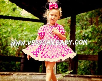 Minnie Mouse Peasant Custom Hot Pink Polka Dot Costume Dress