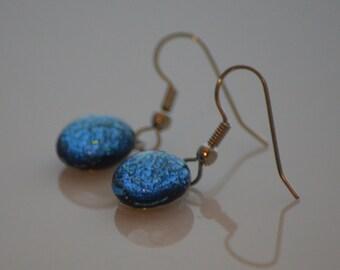 Fused Glass Earrings in Blue Dichroic Glass, SRAJD