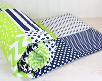 Baby Blanket, Patchwork  Blanket, Boy Blanket, Nursery Decor, Crib Blanket, Navy Blue, Lime Green, Chevron, Houndstooth, Dots