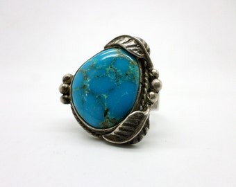 Ring Vintage Turquoise and Silver Native American Style Large Size Man's Ring