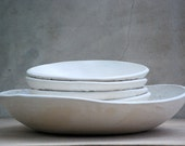 Ceramic pasta set,Pasta serving bowl set,  large pasta bowl, white spaghetti bowl, wedding gift