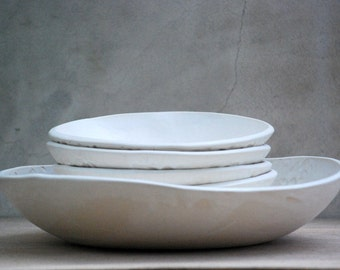 Ceramic pasta bowls - Rustic dinner plates - Ceramic set of bowl - Modern pasta bowl - Serving bowl - Custom wedding gift