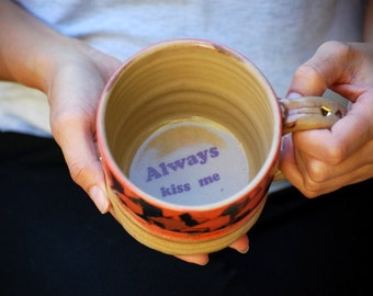 Ceramic Coffee mug, handthrown ceramic mug, wheel thrown stoneware unique coffee mug