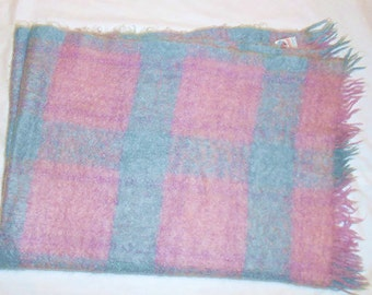 Vintage Blanket Scottish  Mohair and Wool  Soft Lilac Purple and Robins Egg Blue  Plaid