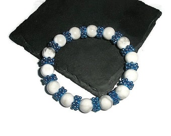 Bracelet White Turquoise Electric Blue snowflake beads Bubble stretchy bangle Adjustable hand Made in UK bt Frutti Tutti Bead Candy