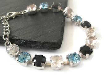 Bracelet Silver Cup chain Swarovski Chatons Light Sapphire Jet Diamond Crystal tennis Bracelet