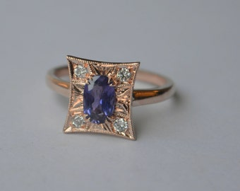 Art Deco Inspired Pillow Ring in 14K Rose Gold with Sapphire and Diamond