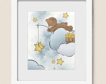 Blue Boys Nursery Wall Art, Stars in Night Sky Childrens Art Print 8 x 10, Teddy Bear Baby Girls Room Decor (312)